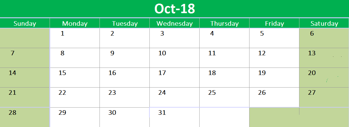 October 2018 Printable Calendar Word