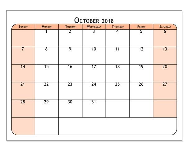 October 2018 Printable Calendars