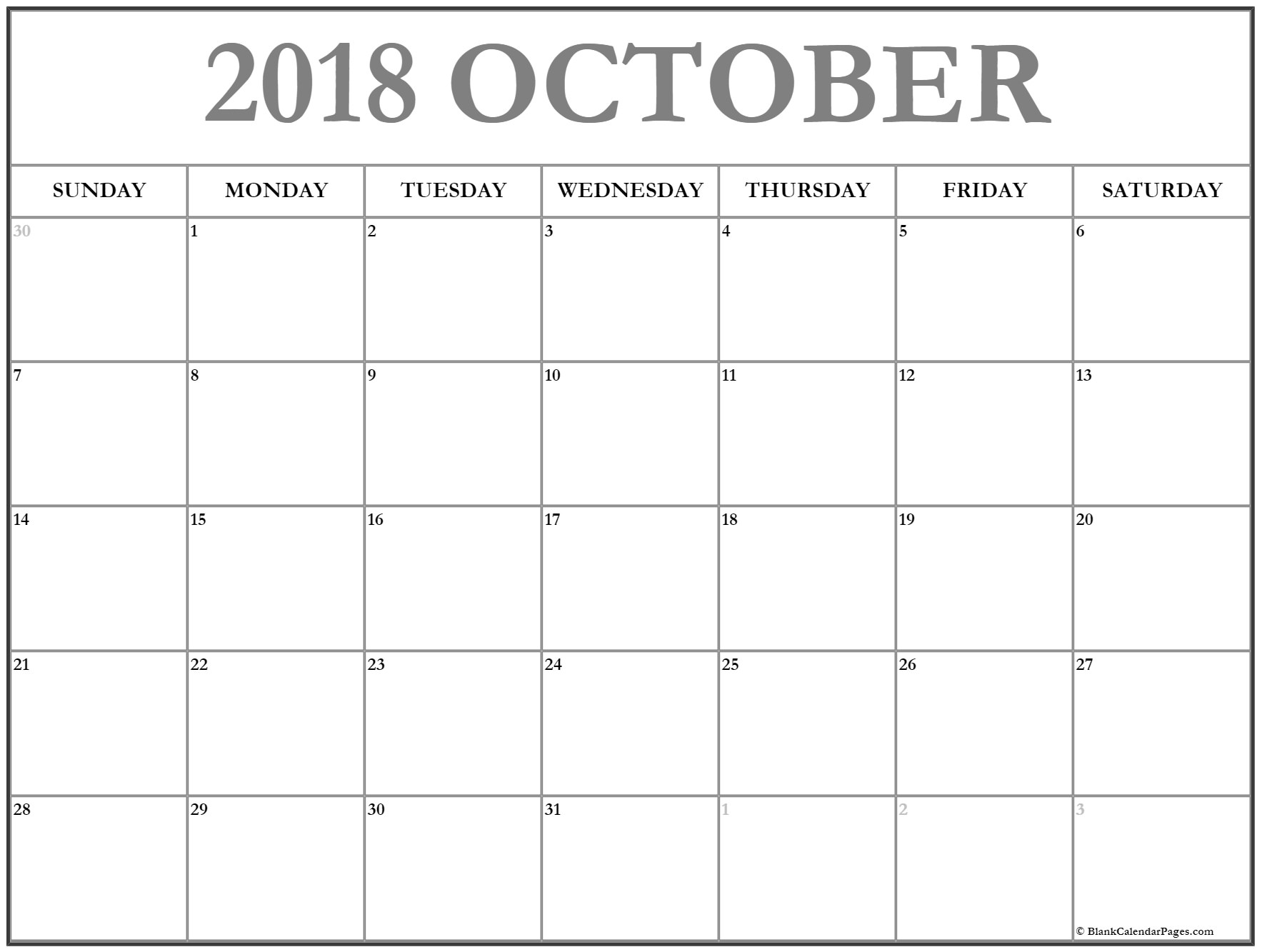 October 2018 South Africa Calendar