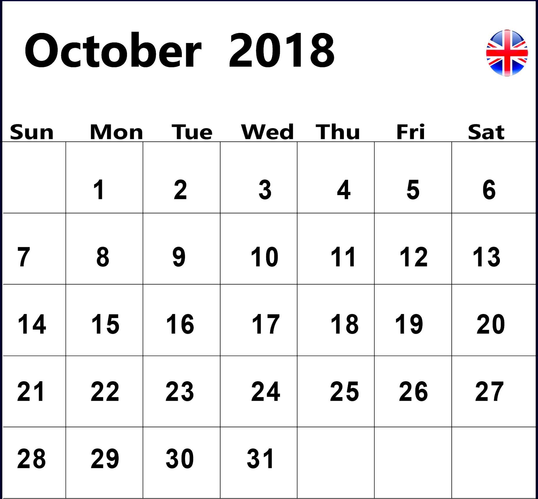 October 2018 UK Calendar