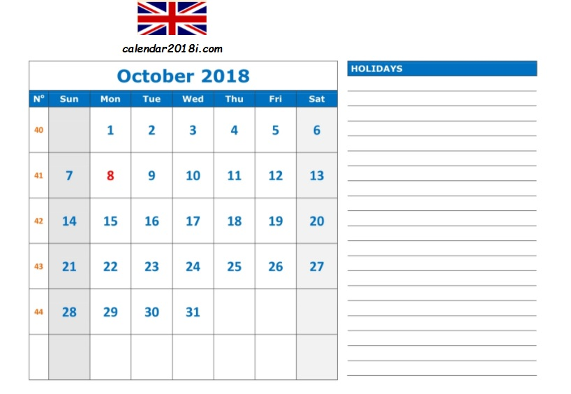 October 2018 UK Calendar Holidays