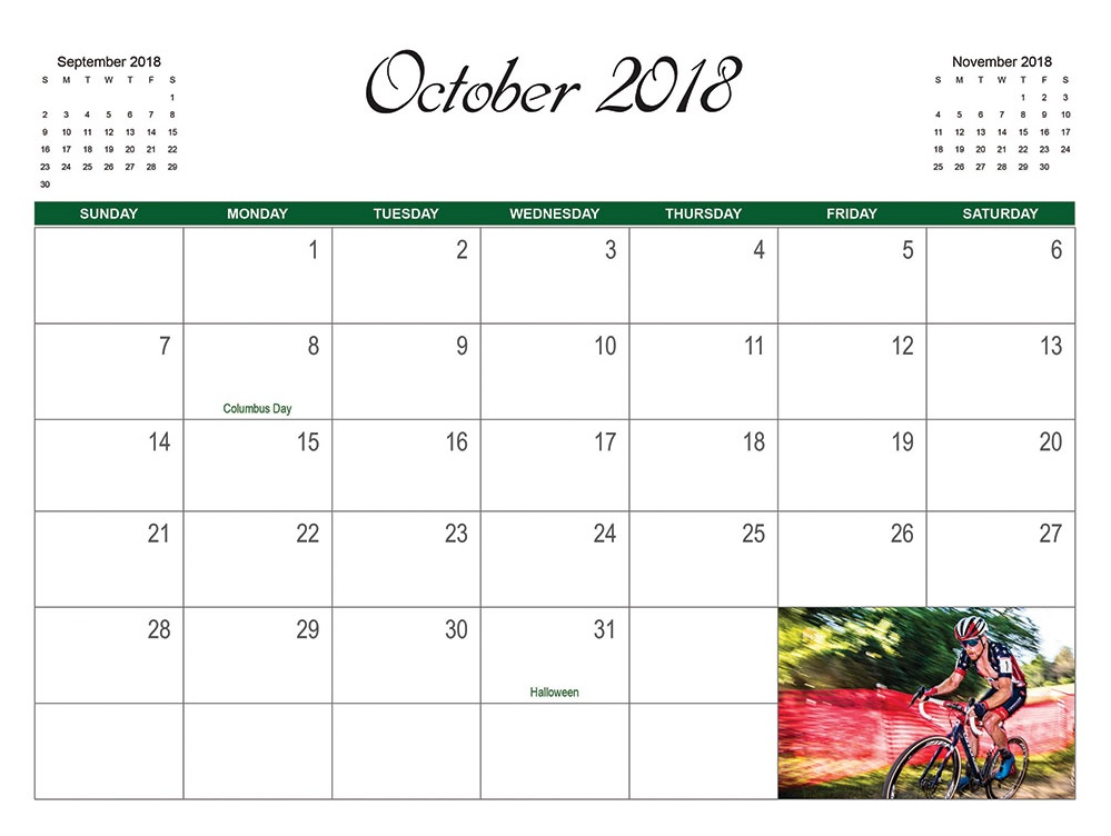 October 2018 Wall Calendar Download