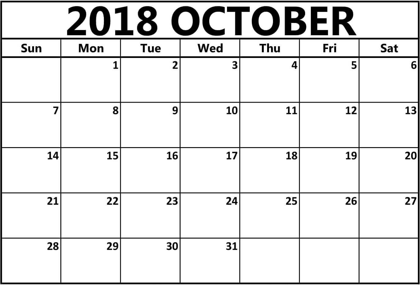 October 2018 Word Calendar