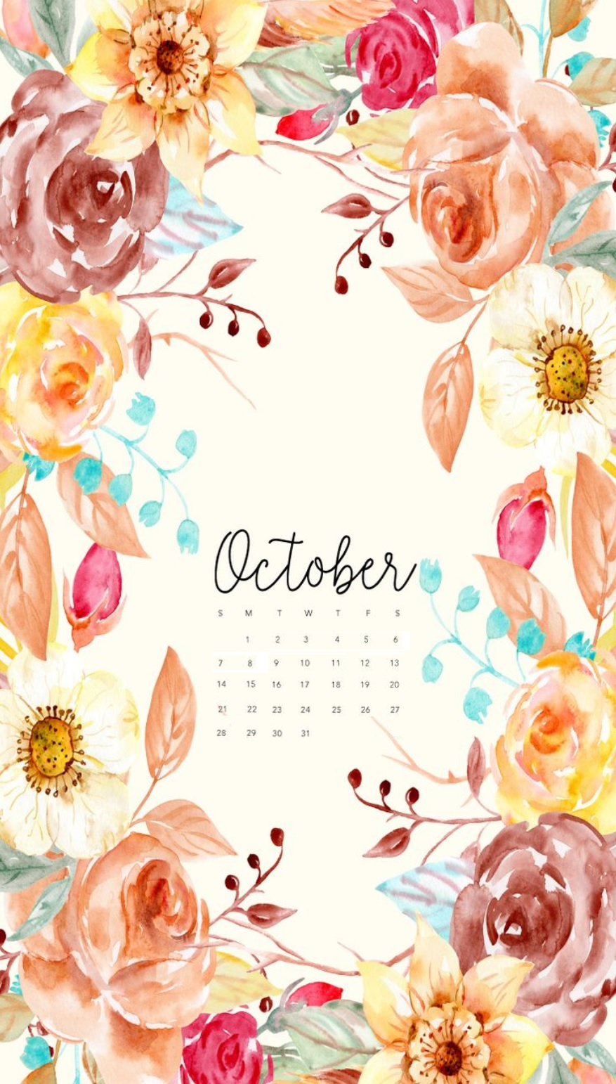 October 2018 iPhone Calendar Designs