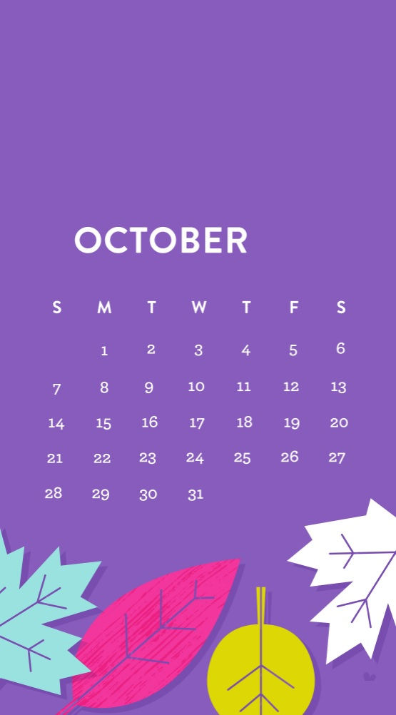 October 2018 iPhone Calendar Download