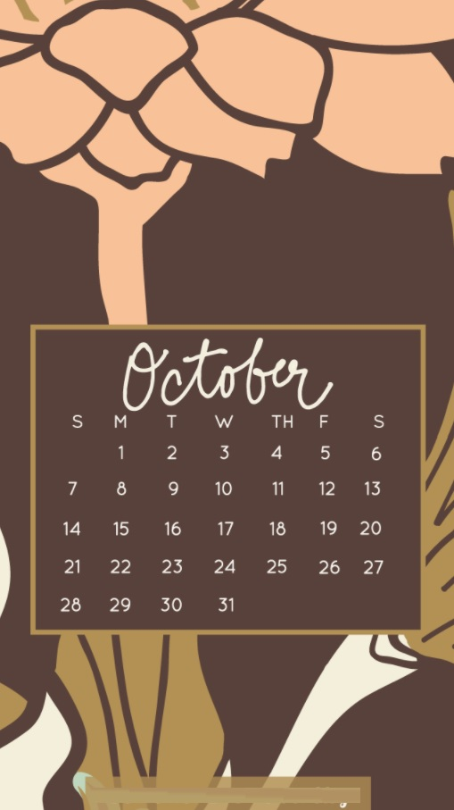 October 2018 iPhone Calendar Templates