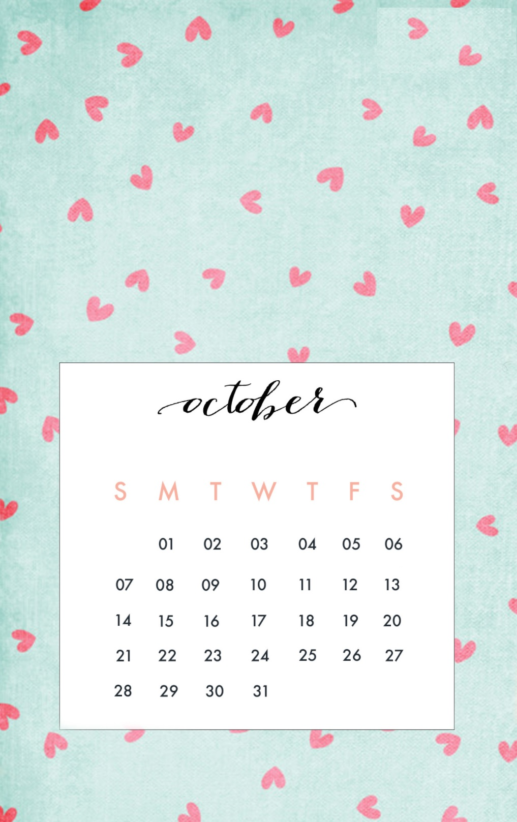 October 2018 iPhone Calendar Wallpapers