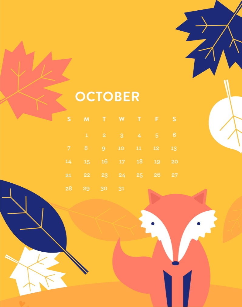October 2018 iPhone HD Calendar
