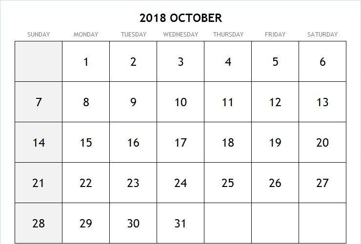 October Calendar 2018 Australia