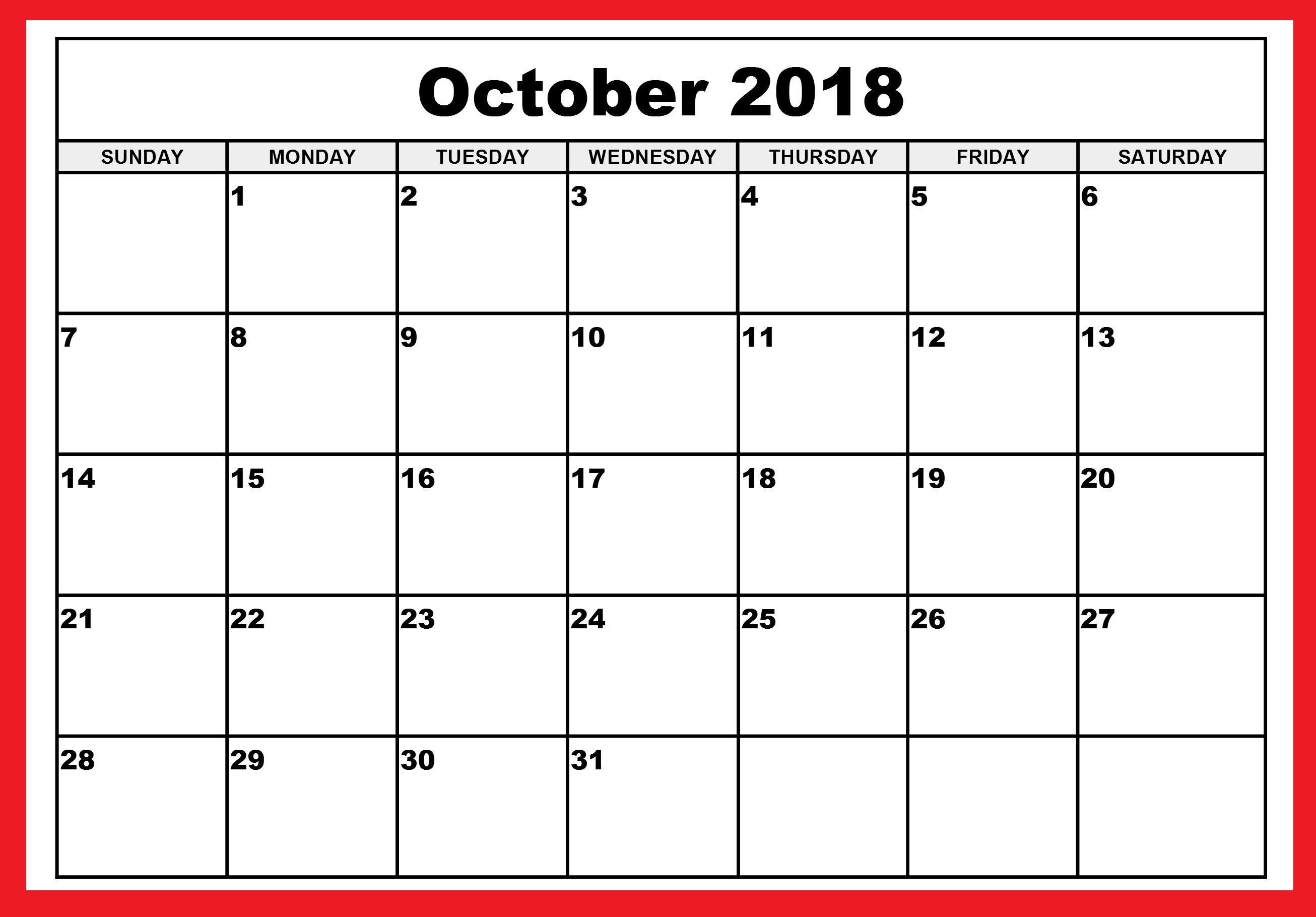 October Calendar 2018 Canada