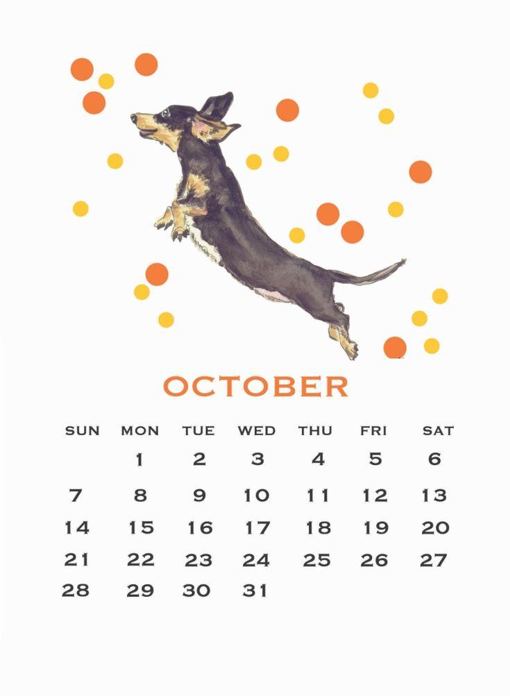 October Calendar 2018 Cute