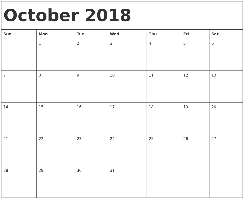 October Calendar 2018 Printable Template