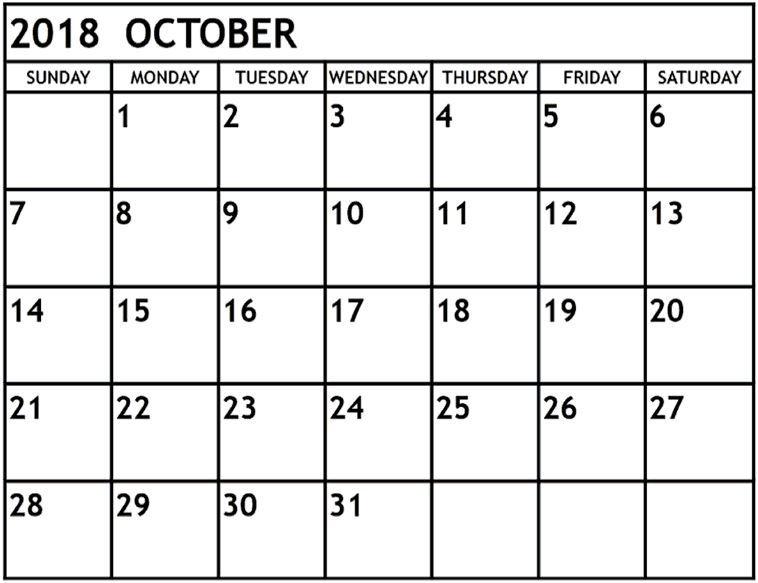 October Calendar 2018 Singapore