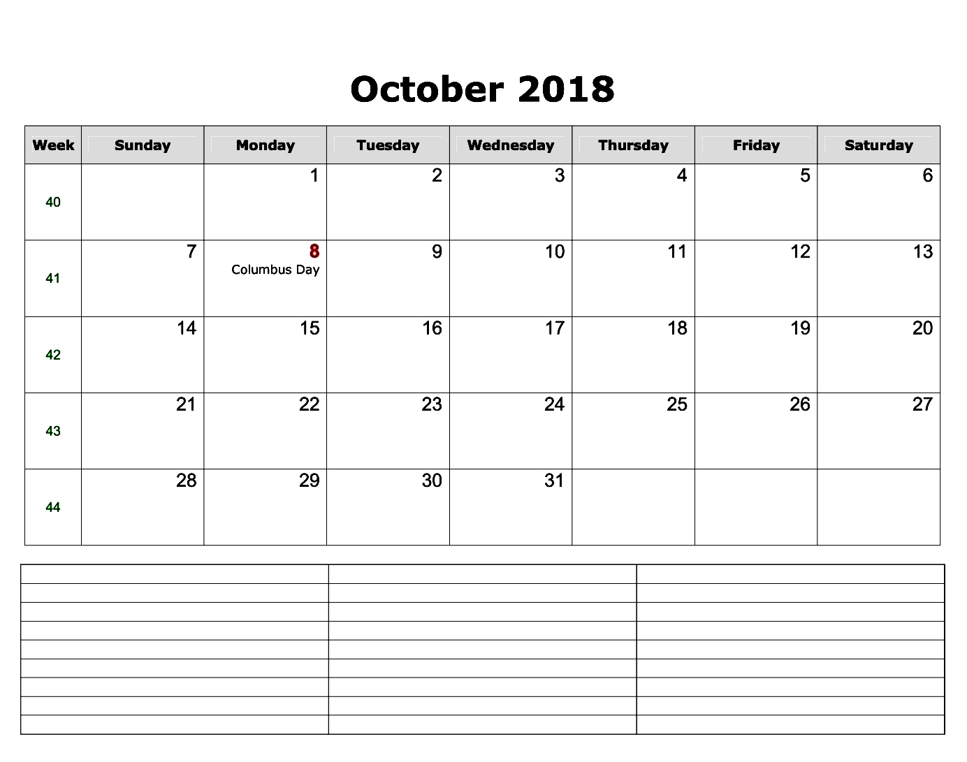 October Calendar 2018 UK