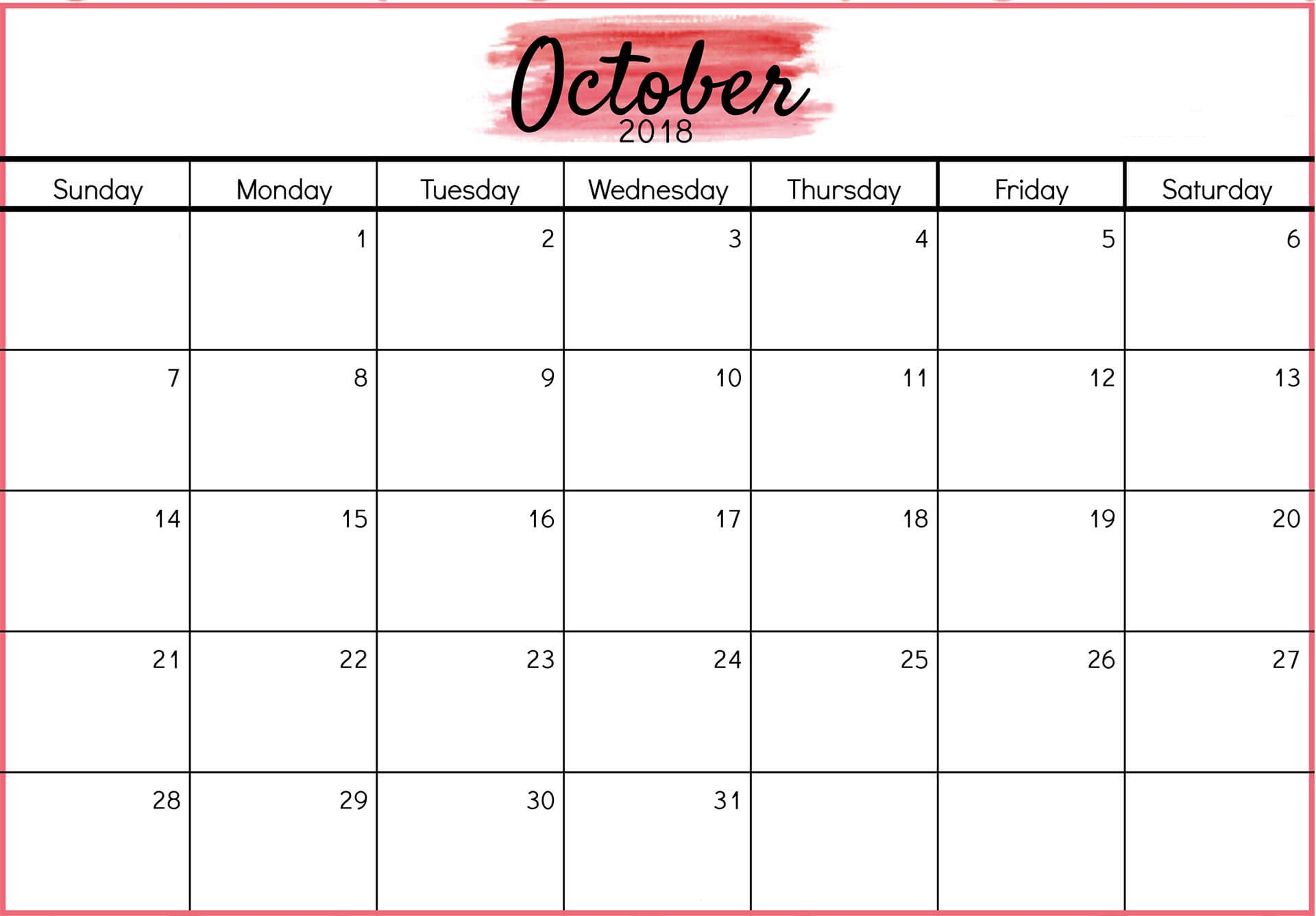 October Calendar 2018 in PDF