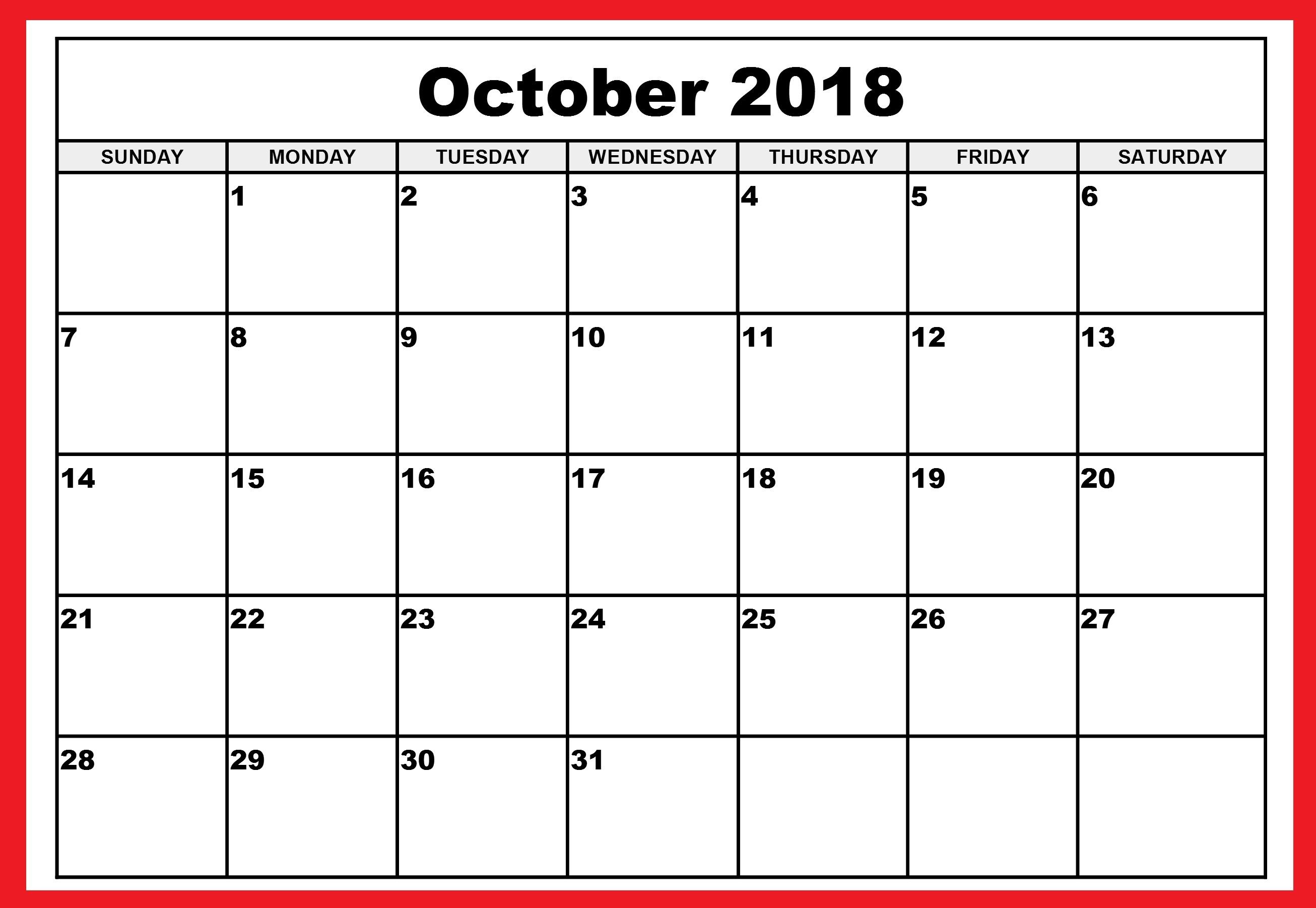 October Calendar Editable