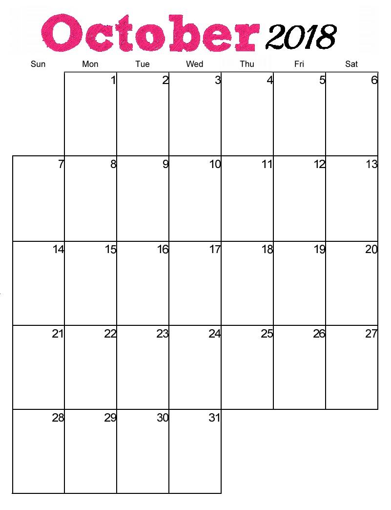 October Calendar Pink