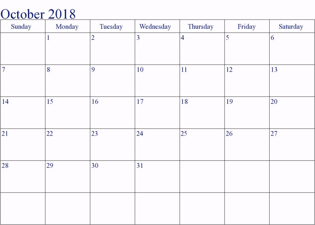 October Calendar UK