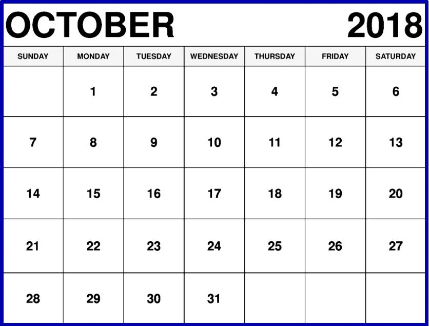 October Calendar to Print