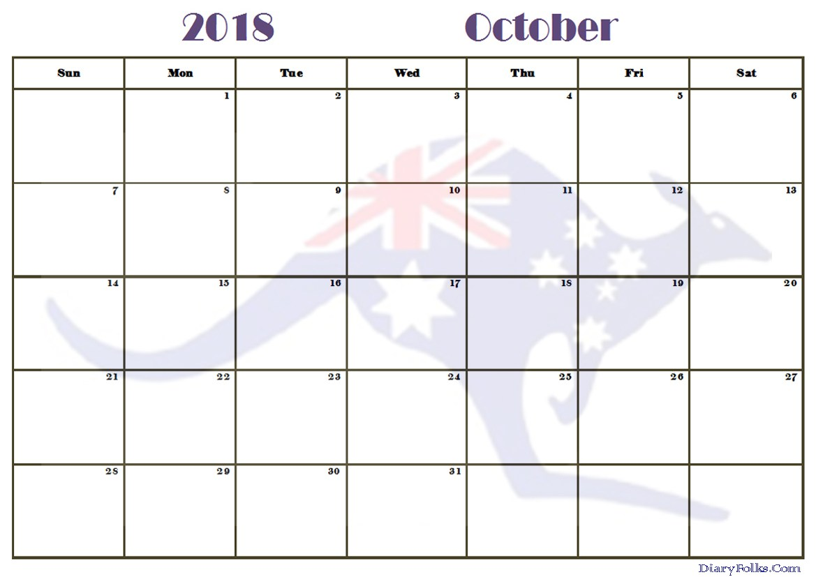 Online October 2018 Calendar Printable