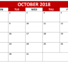 PDF Calendar of October 2018