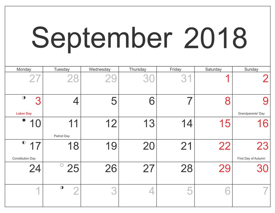 PDF September 2018 Calendar