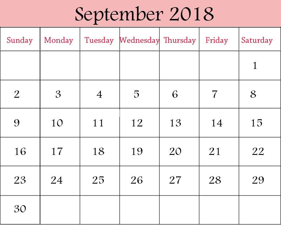 Pink Printable September 2018 Calendar