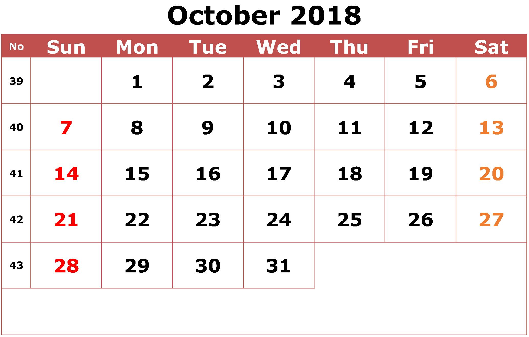 Pink Printable October 2018 Calendar