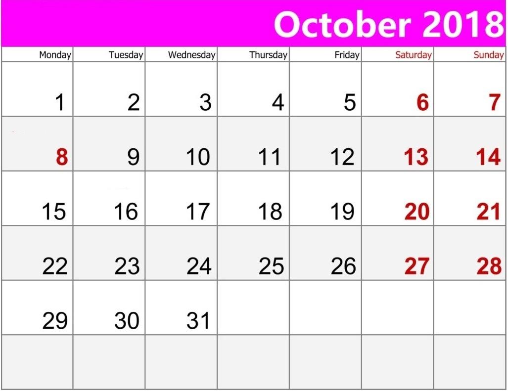 Print October 2018 Calendar PDF