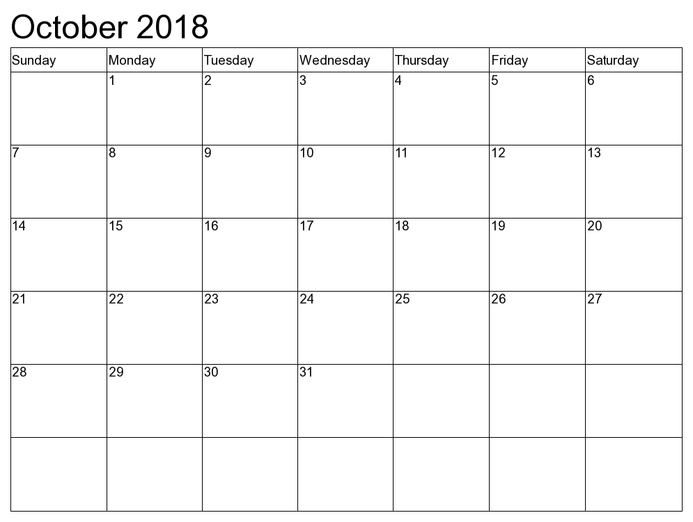 Print October 2018 Calendar Template