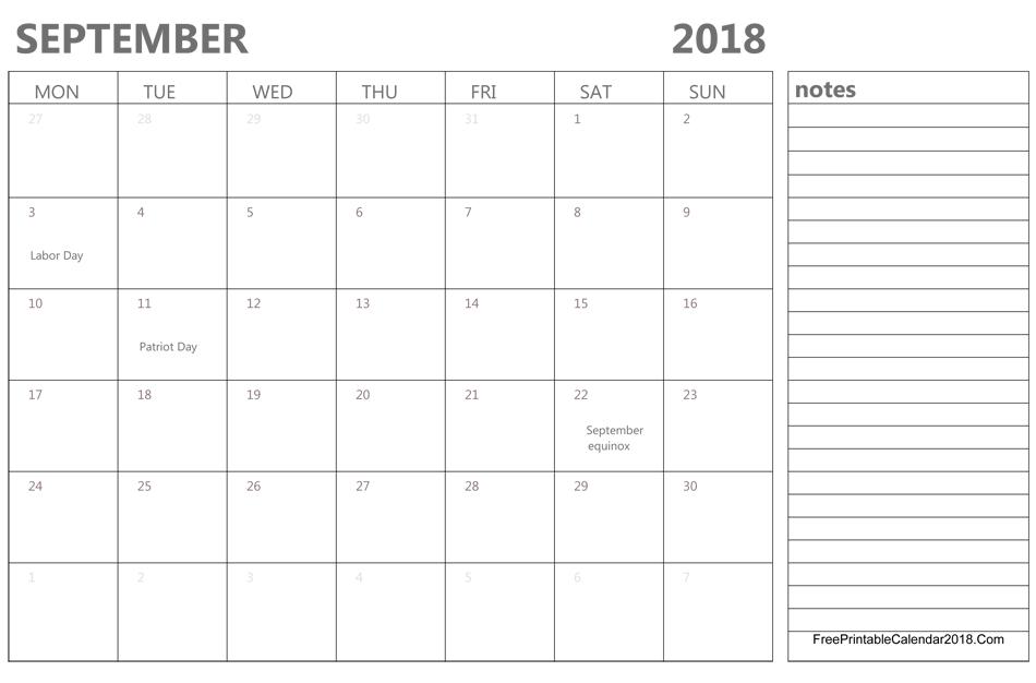 Print September 2018 Calendar Page