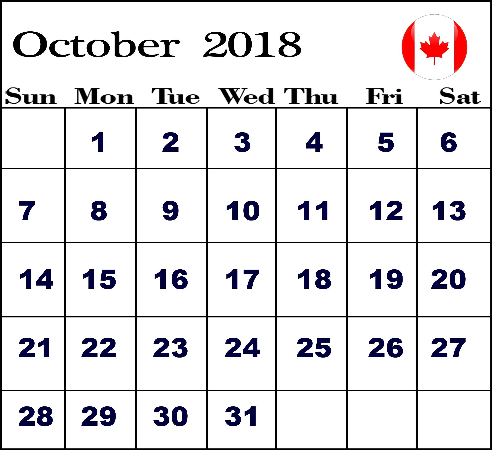 Printable Calendar October 2018 Canada