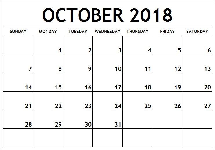 Print Blank Calendar October 2018