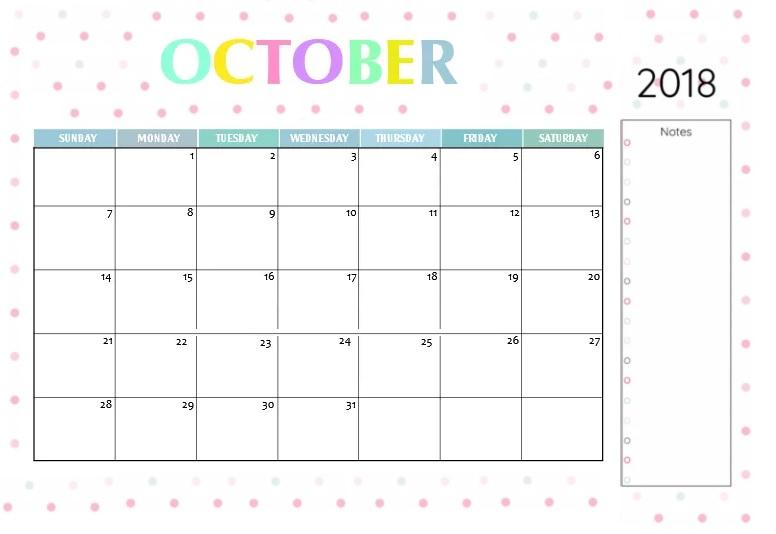 Printable Calendar October 2018 PDF
