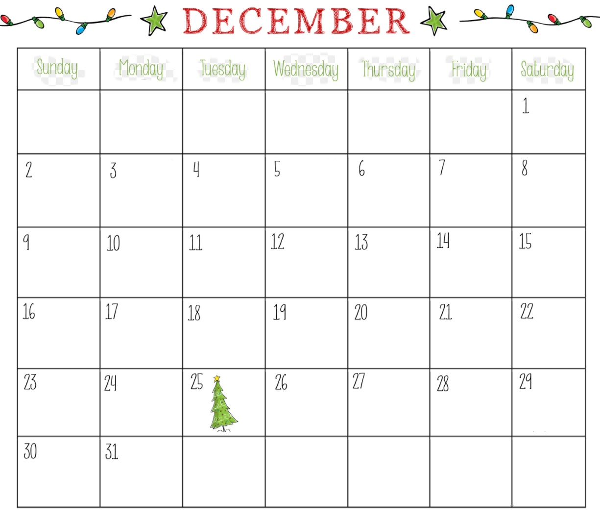 Printable December 2018 Blank Calendar For Office