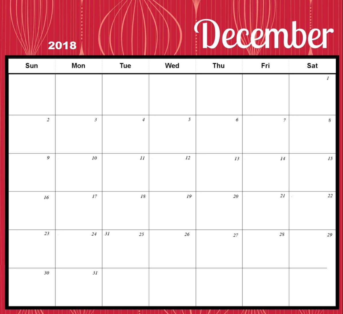 Printable December 2018 Blank Calendar HD
