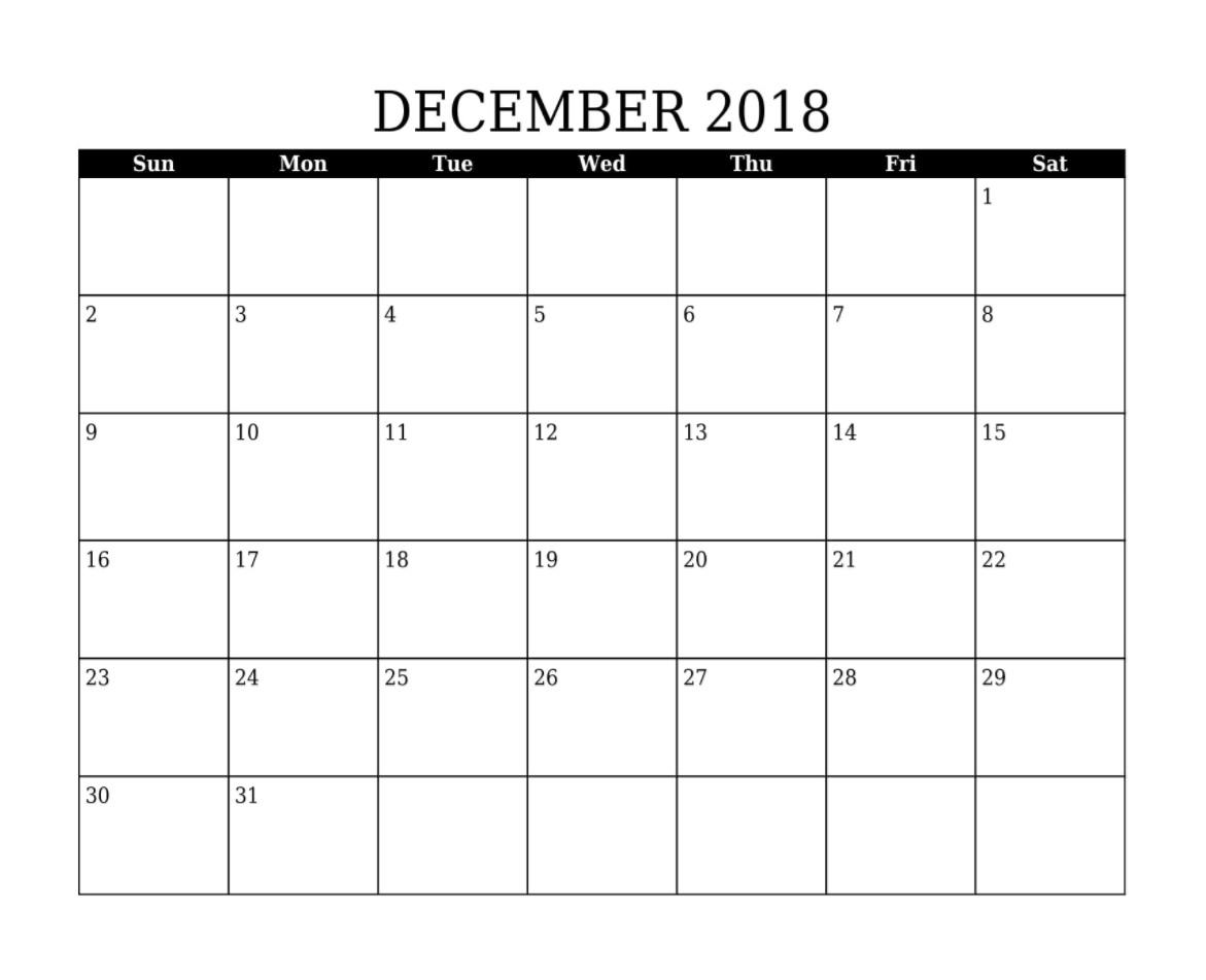 Printable December 2018 Blank Calendar