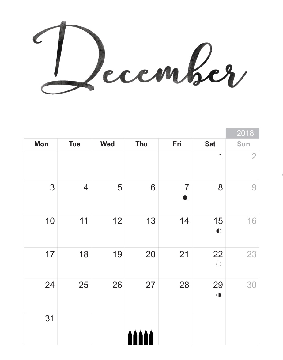 Printable December 2018 Calendar Download