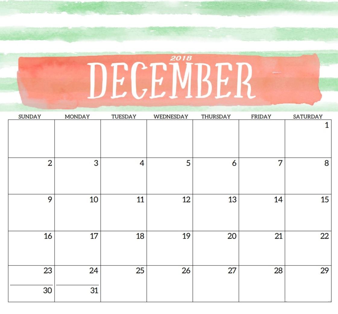 Printable December 2018 Calendar Template