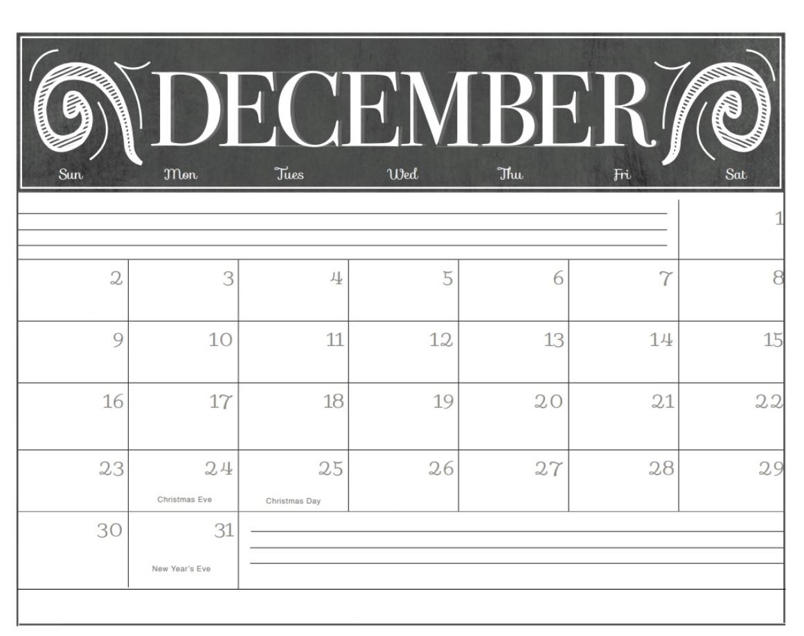 Printable December 2018 Chalkboard Calendar