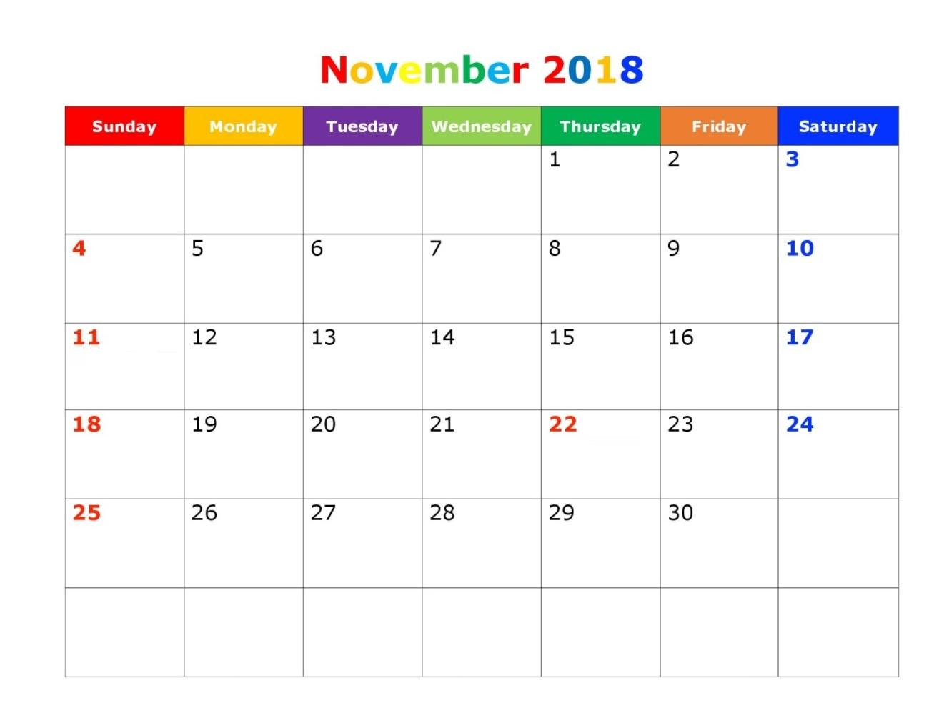 Printable November 2018 Calendar Download