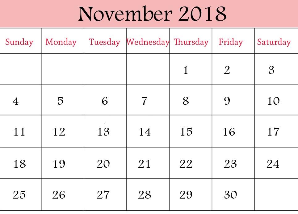 Printable November 2018 Calendar HD
