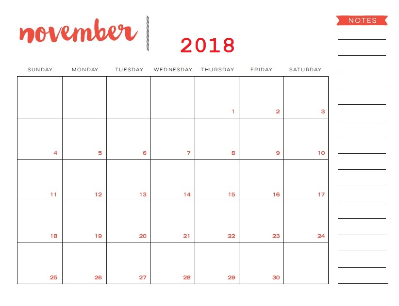Printable November 2018 Calendar Planner