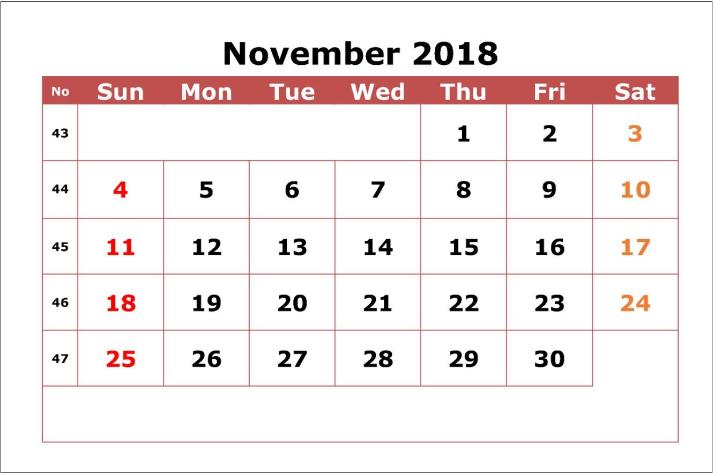 Printable November 2018 Calendar Template