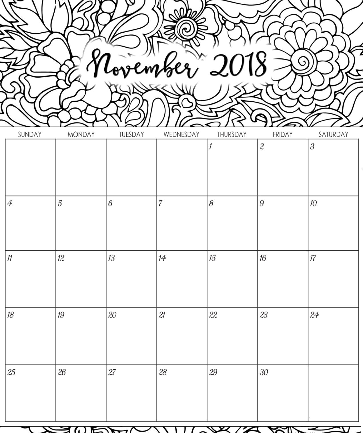 Printable November 2018 Coloring Calendar