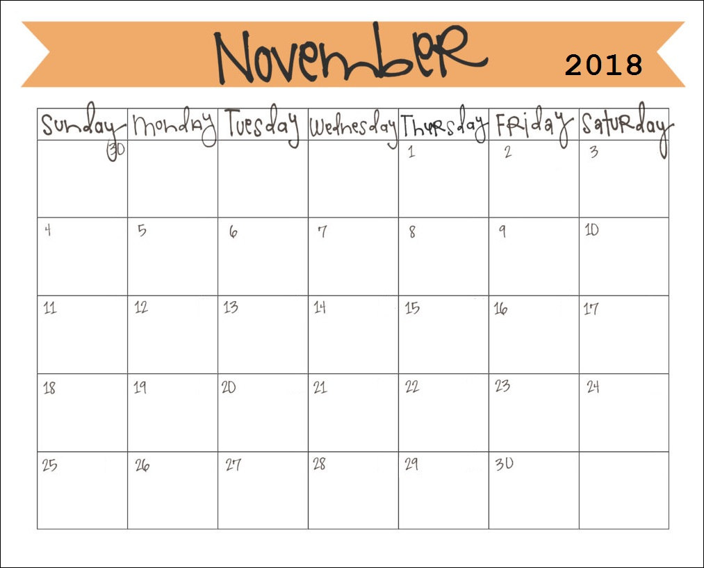 Printable November 2018 Monthly Calendar