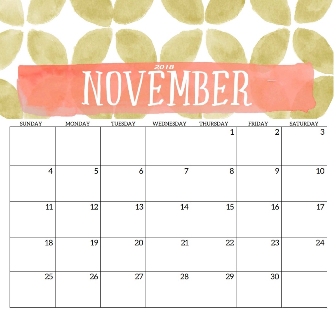 Printable November 2018 Wall And Desk Calendar