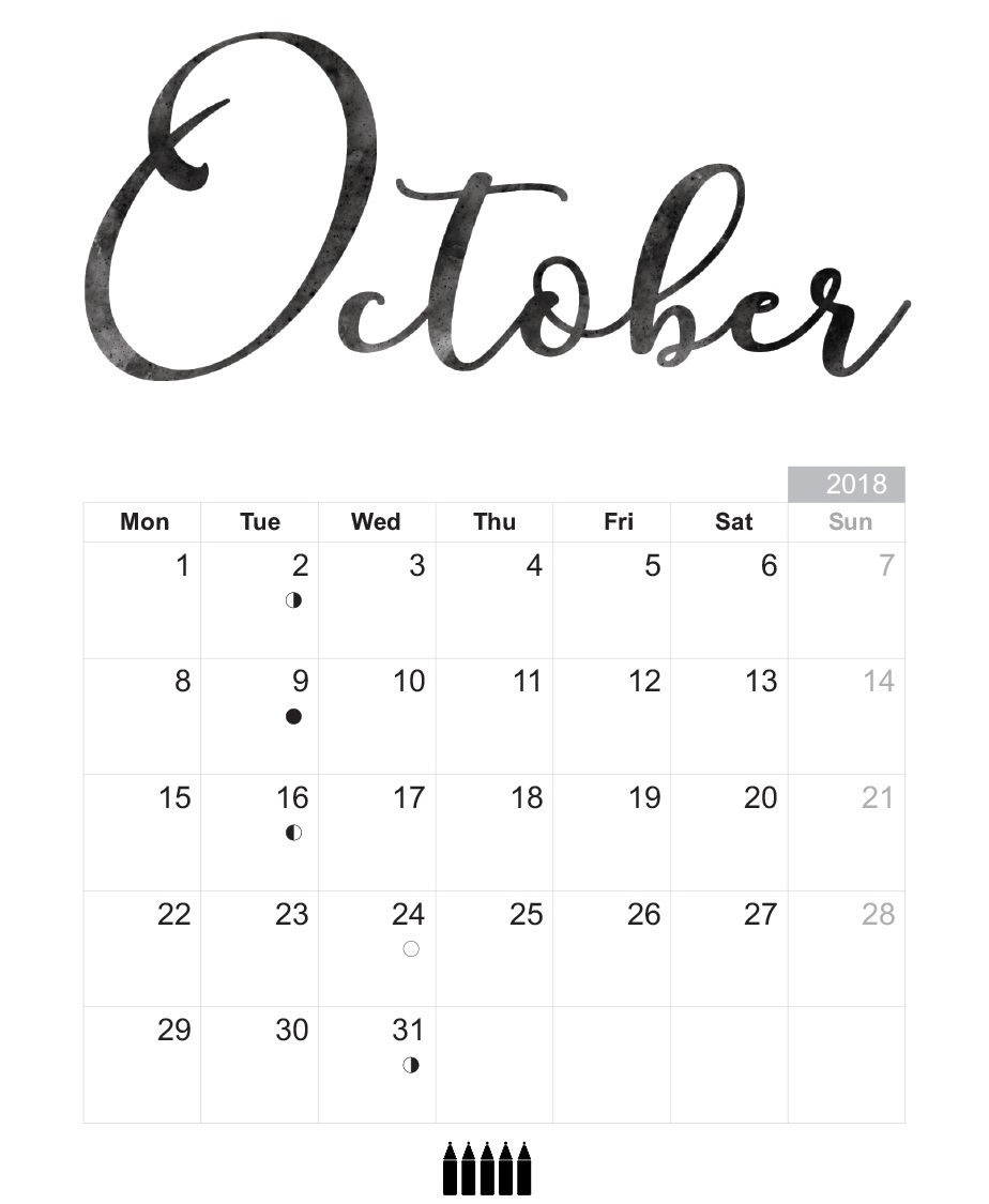 Printable October 2018 Calendar Design