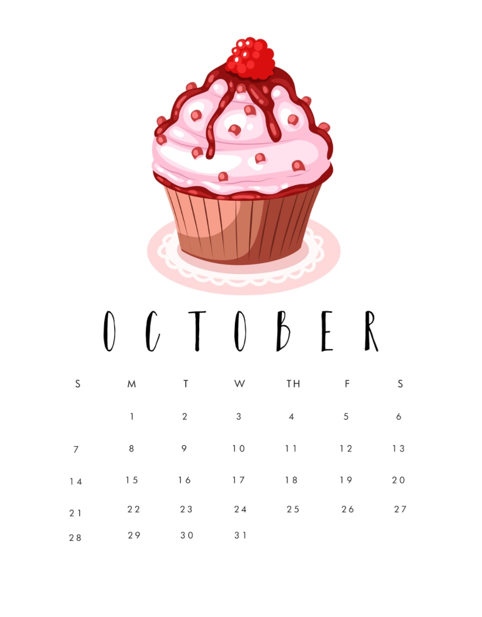 Printable October 2018 Calendar Download