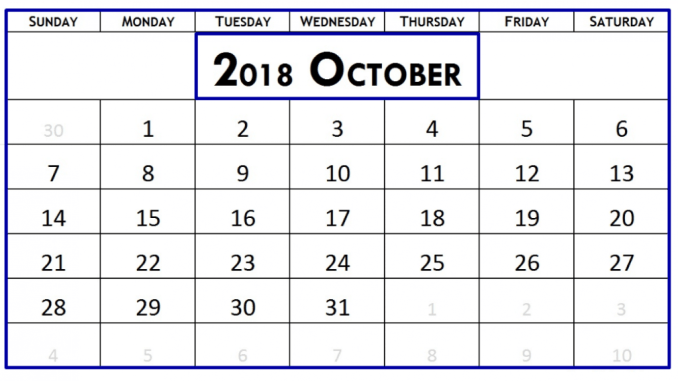 Printable October 2018 Calendar Excel